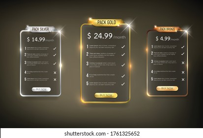 Button web price table pack