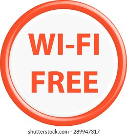 Button wi-fi free. The round shape. 3D. Vector illustration.