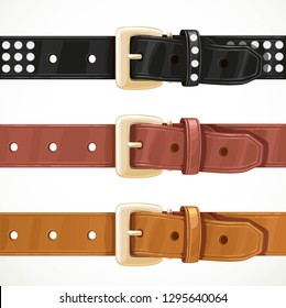 Buttoned leather wide belt with a big buckle in three color variations object isolated on white background.
