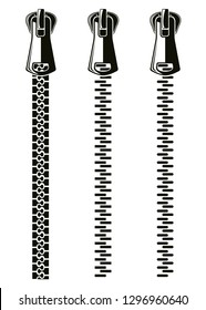 Buttoned zipper black and white icons set. Fastener zipper icon collection. Zippered lock. Closed zipper. Vector Illustration