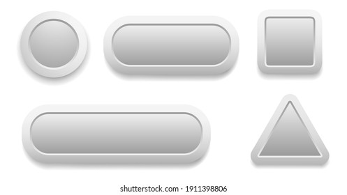 Buttons 3D grey set, white and grey collection vector design.
