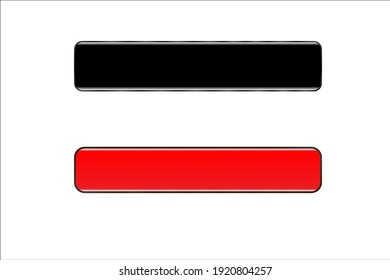 Buttons black and red, vector illustration