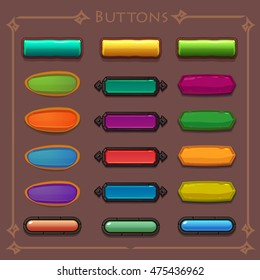Buttons cartoon set, vector elements for web or game ui design