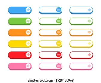Buttons collection. Big colorful Buttons, isolated. Modern buttons. Vector illustration