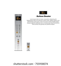 Buttons and display modern design for elevator, Lift, Vector, Illustration.