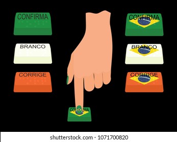Buttons of the electronic ballot box, Brazilian flag and hand Translations: Branco means White Corrige Corrects Confirma Confirm