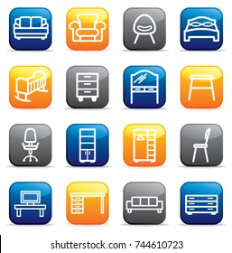 Buttons with furniture icons. Vector illustration