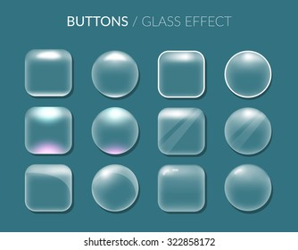 Buttons. Glass effect. Vector illustration. EPS 10