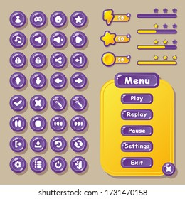 Buttons, icons, and menu Windows for the design of game user interfaces (UI) for games and apps. User buttons, settings, navigation, play, replay, pause, exit, and others.