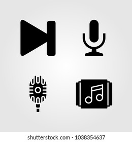 Buttons icons set. Vector illustration mic, next, microphone and playlist
