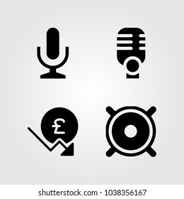 Buttons icons set. Vector illustration speaker, mic, microphone and pound sterling