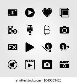 Buttons icons set. Vector illustration fx, play button, mute and heart