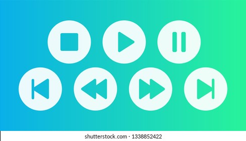 Buttons for player play, stop, pause, fast forward ant etc Vector illustration