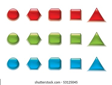 Buttons set in different colors and shapes