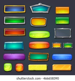 Buttons set, form designed game user interface GUI for game design Options select window. Vector illustration.