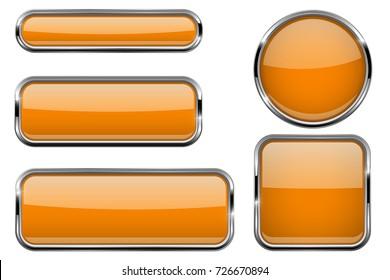 Buttons set. Orange shiny 3d icons. Vector illustration isolated on white background