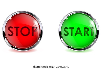 Buttons stop and start. Glass round web elements with metallic frame. Vector illustration isolated on white background