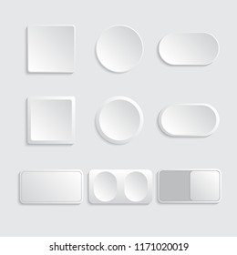 Buttons and switches set white color. Vector illustration