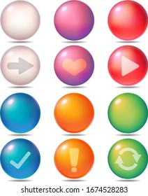 Buttons that are three types of web materials. Three types of advance, Six types of buttons with heart, play, check, important, and repeat marks, and buttons without marks.