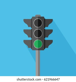 buttons in traffic light sign illustration. walk, run, drive & go for transportation or business on light blue background. flat design one stoplight Vector isolated & green symbol icon lower