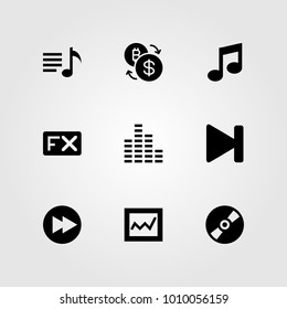 Buttons vector icon set. fx, analytics, compact disc and next