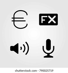 Buttons vector icons set. mic, fx and microphone