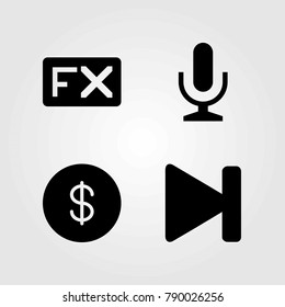 Buttons vector icons set. mic, microphone and fx