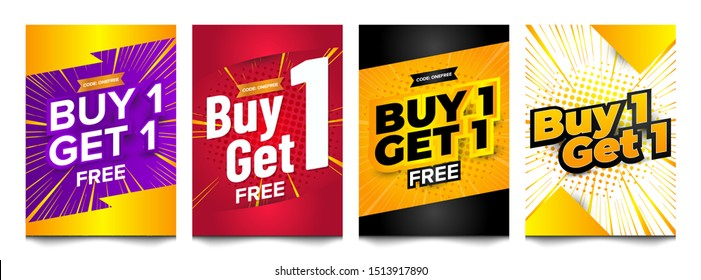 Buy 1 get 1 free banner set collection template. High Quality vector