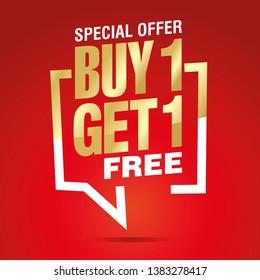 Buy 1 get 1 free in brackets speech gold white red sticker icon