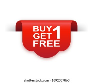 Buy 1 get 1 free red ribbon isolated on white background. Red label, banner for any purposes. Vector illustration.