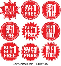 Buy 1 get 1 free red label. Buy 1 get 1 free red sign. Buy 1 get 1 free red banner. Vector illustration