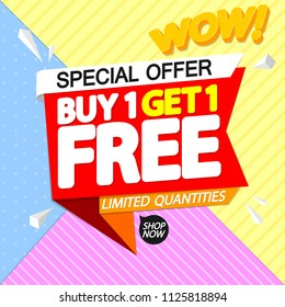 Buy 1 Get 1 Free, sale tag, discount banner design template, app icon, special offer, vector illustration
