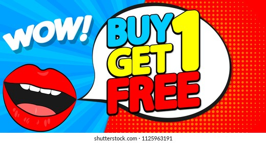 Buy 1 Get 1 Free, sale poster design template, wow discount, vector illustration