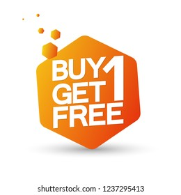Buy 1 Get 1 Free, sale banner design template, discount tag, vector illustration