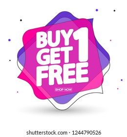 Buy 1 Get 1 Free, sale tag design template, discount speech bubble banner, app icon, best offer, vector illustration