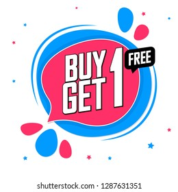 Buy 1 Get 1 Free, sale tag design template, discount speech bubble banner, app icon, vector illustration