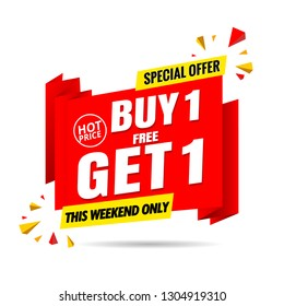Buy 1 get 1 free sale banner template red.