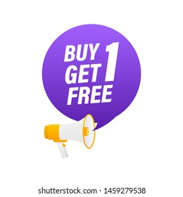 Buy 1 Get 1 Free, sale tag, banner design template, app icon, vector illustration.