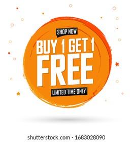 Buy 1 Get 1 Free, sale banner design template, discount tag, grunge brush, vector illustration