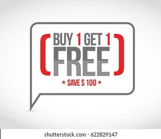 buy 1 get 1 free sale message concept illustration design graphic