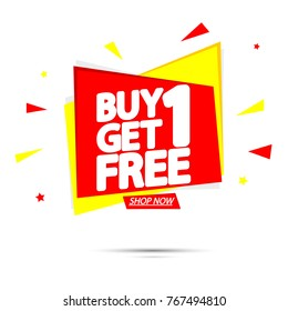 Buy 1 Get 1 Free, sale tag, banner design template, app icon, vector illustration