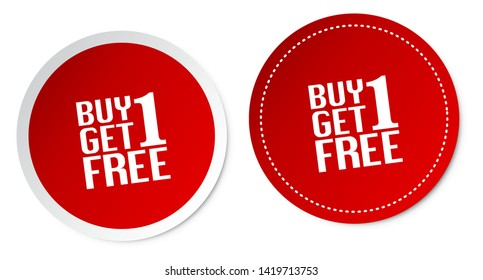 Buy 1 Get 1 Free Stickers Isolated On White Background