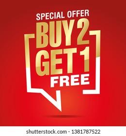 Buy 2 get 1 free in brackets speech gold white red sticker icon