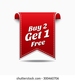 Buy 2 get 1 free Red Vector Icon