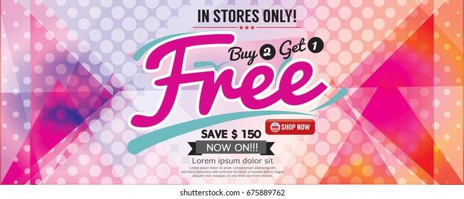 Buy 2 Get 1 Free 6249x2502 pixel Banner Vector Illustration