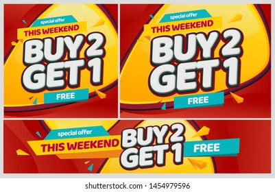 Buy 2 get 1 promotion. Free Discount. yellow and red promo banner vector