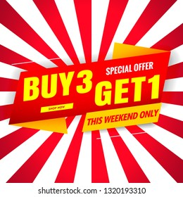 buy 3 get 1 free sale red banner.Vector design