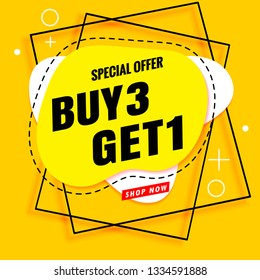buy 3 get 1 free sale banner template yellow.Vector poster modern design.