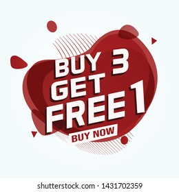 Buy 3 Get 1 Free sale tag. Banner design template for marketing. Special offer promotion or retail. white  background banner modern graphic design for store shop, online store, website, landing page