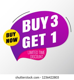 Buy 3 Get 1 sale banner template.